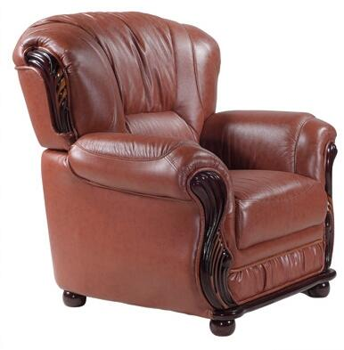 """Meridian Mina 639-C 43"""" Chair with Top Quality Genuine Bonded Leather Upholstery, Rich Mahogany Finish and Removable Backs in"""