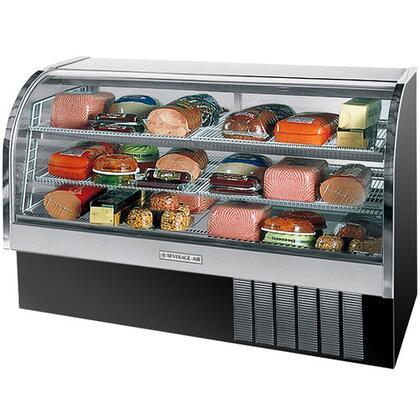 """Beverage-Air CDR6/1 One Section 73"""" Curved Glass Refrigerated Bakery Display Case, 27.6 cu.ft. Capacity, [Black] Exterior and Bottom Mounted Compressor"""