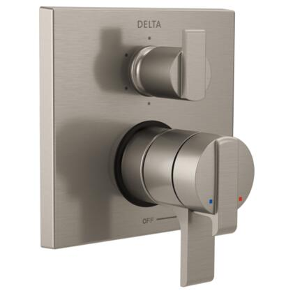 Ara T27967-SS Delta Ara: Angular Modern Monitor 17 Series Valve Trim with 6-Setting Integrated Diverter in Stainless