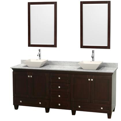 "Wyndham Collection Acclaim 80"" Double Bathroom Vanity with 4 Doors, 6 Drawers, 2 Mirrors, Brushed Chrome Hardware, White Carrera Marble Top and Pyra Bone Porcelain Sinks in"