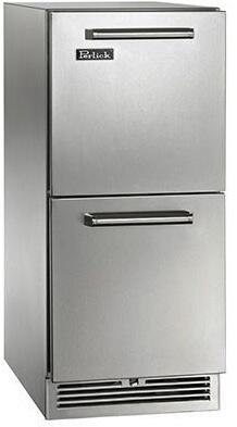 """Perlick HP15Rx35C 15"""" Signature Series xdoor Refrigerator Drawer 2.8 cu. ft. Capacity, RAPIDcool System, 525 BTU Commercial Grade Compressor and Classic Handle, in Stainless Steel with"""