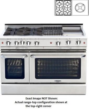 "Capital Precision Series CSB484WW-X 48"" Freestanding Dual Fuel Electric Range with 4 Sealed Burners, Primary 4.6 Cu. Ft. Oven Cavity, Secondary 2.1 Cu. Ft. Oven Cavity, and Moto-Rotis, in Stainless Steel"