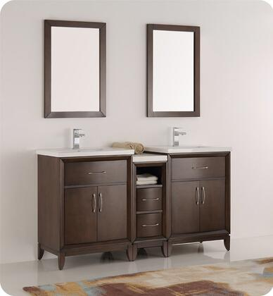 """Fresca Cambridge Collection FVN21-241224 60"""" Double Sink Traditional Bathroom Vanity with Mirror, 4 Soft Close Doors, Tapered Legs, Integrated Ceramic Sink & Countertop and Side Cabinet in"""
