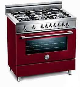 Bertazzoni X366PIRVILP Professional Series Dual Fuel Freestanding Range with Sealed Burner Cooktop, 4 cu. ft. Primary Oven Capacity, in Burgundy