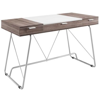 Modway EEI-1321 Office Panel Desk with Modern Design, Three Easy Pull-Out Drawers, Black Plastic Foot Pads, Metal Tube Base and Melamine Covered MDF