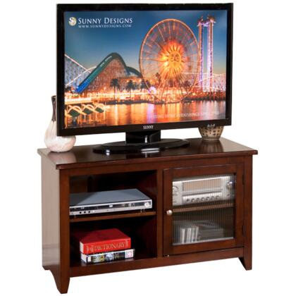 "Sunny Designs 3447CA 42"" Cappuccino TV Console with 1 Rib glass door and 2 Adjustable Shelves in Cappuccino Finish"