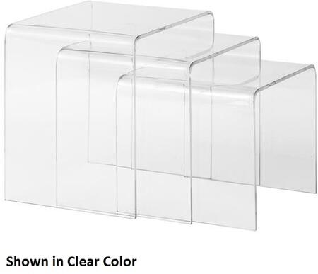 "EdgeMod Burton Collection 13"" Nesting Tables with Curved Edges, Space Saving Design and Polycarbonate Material in"