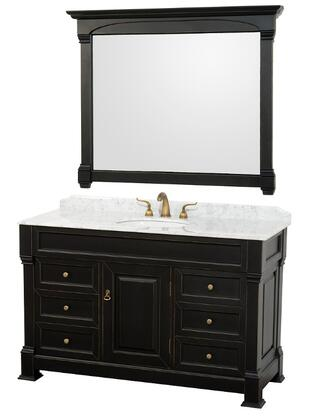 Wyndham Collection WCVTS55 Single Vanity Set with Oak Hardwood, Porcelain Undermount Sink, Faucet Hole Mount, Backsplash, 1 Door, 6 Drawers & Matching Mirror in