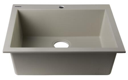 """Alfi AB2420DI-XX 24"""" Single Bowl Kitchen Sink with Granite Composite, One Pre-Drilled Faucet Hole In Center and Drop-In Installation Hardware in"""
