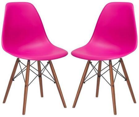 EdgeMod EM105WALFUSX2 Vortex Series Modern Wood Frame Dining Room Chair