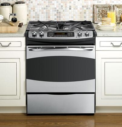 GE PGS908SEPSS Profile Series Slide-in Gas Range with Sealed Burner Cooktop Storage 4.1 cu. ft. Primary Oven Capacity