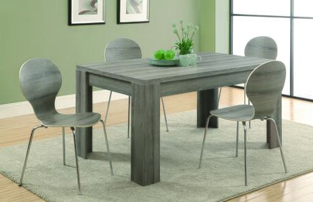 "Monarch I1005 36"" X 60"" Dining Table with Solid Wood and Veneer Construction, Reclaimed Look and Sturdy Open Block Legs:"
