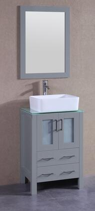 """Bosconi AGR124RCCWGX XX"""" Single Vanity with Clear Tempered Glass Top, Rectangle White Ceramic Vessel Sink, F-S02 Faucet, Mirror, 2 Doors and X Drawers in Grey"""