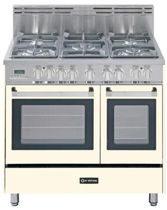 "Verona VEFSGE365DAW 36"" Dual Fuel Freestanding Range with Sealed Burner Cooktop, 2.4 cu. ft. Primary Oven Capacity, Storage in Antique White"