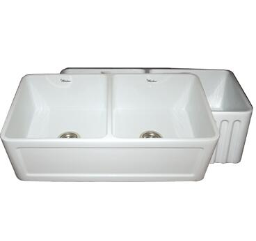 "Whitehaus WHFLCON3318 33"" Double Bowl Fluted / Dental Reversible Fireclay Farmhouse Kitchen Sink in"