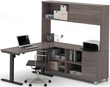 Bestar Furniture 120858 Pro-Linea L-Desk with Hutch including Electric Height Adjustable Table