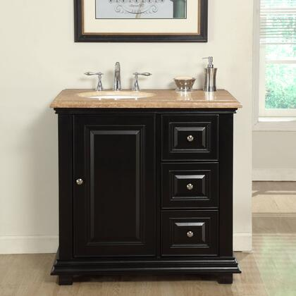"""Silkroad Exclusive V0281TW36 36"""" Single Sink Cabinet with 3 Drawers, 1 Door, Travertine Top and Undermount White Ceramic Sink (3-Hole) in Espreso Finish"""