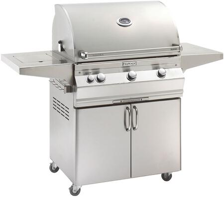 "FireMagic A660S5AAX62 Aurora 63"" Cart with 30"" Liquid Propane Grill, All Infrared Burners, Side Burner, Analog Thermometer, and Up to 75000 BTUs Main Burners Heat Output, in Stainless Steel"