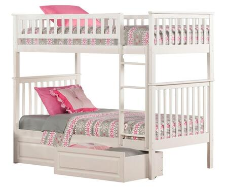 Atlantic Furniture AB5612 Woodland Bunk Bed Twin Over Twin With Raised Panel Bed Drawers