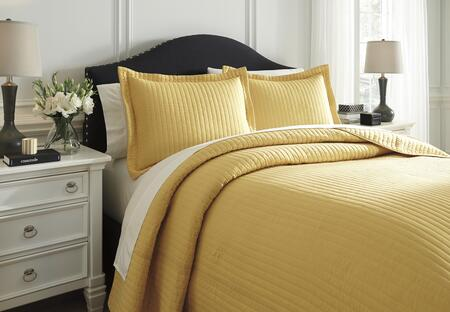 Signature Design by Ashley Raleda Q494003 3 PC Size Coverlet Set includes 1 Coverlet and 2 Shams with Solid Pattern and Polyester Material in Yellow Color