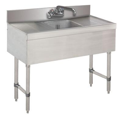 """Advance Tabco 31C-X Lite Series One-Compartment Underbar Sink with 4"""" Backsplash, Drainboards and 6"""" Splash Mounted Faucet in Stainless Steel"""