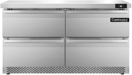 "Continental Refrigerator SW48F 48"" Worktop Refrigerator with 13.4 Cu. Ft. Storage Capacity, Front Breathing Compressor, Aluminum Interior, Interior Hanging Thermometer, and Environmentally-Safe Refrigerant, in Stainless Steel"
