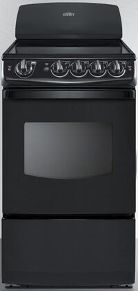 "Summit REX20 20"" Electric Range with Smooth Ceramic Glass Cooktop, 4 Elements, 2.4 Cu. Ft. Oven Capacity, Upfront Controls, Indicator Lights, Oven Interior Light and Backguard, in"
