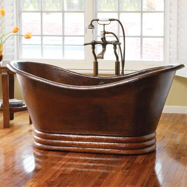 "Native Trails CPS91 60"" Aurora Bathtub with Recycled Copper, Single Walled Bathtub, and Finished in"