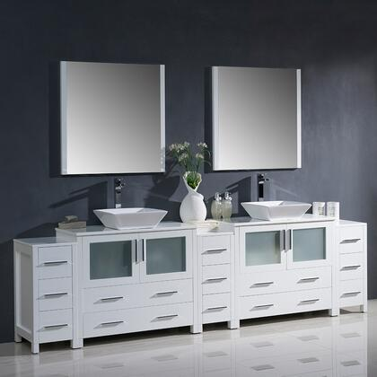 "Fresca Torino Collection FVN62-108XX-VSL 108"" Modern Double Sink Bathroom Vanity with 3 Side Cabinets, Vessel Sinks and 2 Mirrors in"