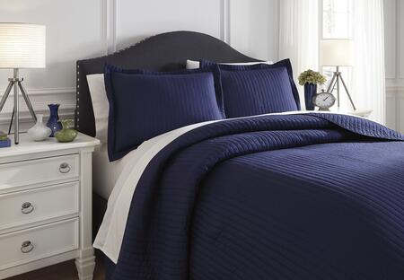 Signature Design by Ashley Raleda Q497003 3 PC Size Coverlet Set includes 1 Coverlet and 2 Shams with Solid Pattern and Polyester Material in Navy Color
