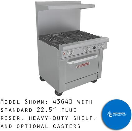 "Southbend 4364 Ultimate Range Series 36"" Gas Range with Three Star/Saute Burner in Front, Three Standard Non-Clog Burners in Back, and Standard Cast Iron Grates, Up to 198000 BTUs (NG)/144000 BTUs (LP)"