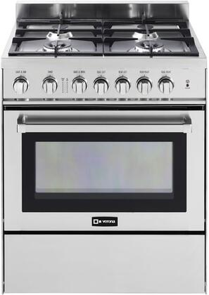 "Verona VEFSGG304NSS 30""  Gas Freestanding Range with Sealed Burner Cooktop, 3.6 cu. ft. Primary Oven Capacity, Storage in Stainless Steel"