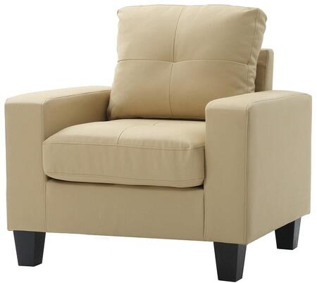 Glory Furniture G462AC Newbury Series Faux Leather Armchair in Beige