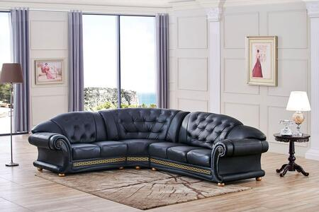 "ESF Versachi Collection I170X 105/120"" Sectional with Leather in Black"