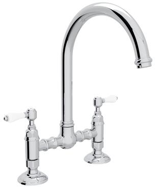 "Rohl A1461LP-2 Italian Country Kitchen Collection Deck Mounted C-Spout Bridge Kitchen Faucet with 8"" Reach and Porcelain Levers in"