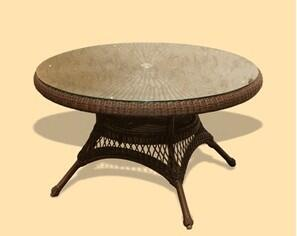 """Tortuga LEX-XYZ 48"""" Dining Table With All Weather Wicker, Powder Coated Aluminum Frames & In"""