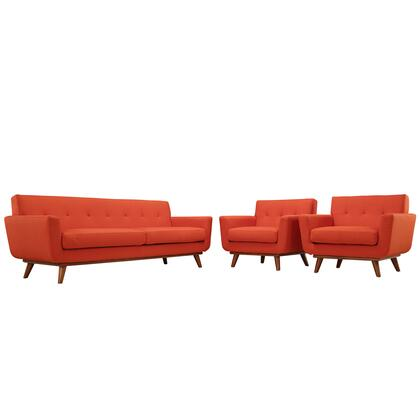 Modway EEI-1345 Engage 3 Piece Set with Two Armchairs and One Sofa, Modern Design, Cherry Color Rubber Wood, Plastic Glides, 440 lbs. Weight Capacity and 100% Polyester Upholstery