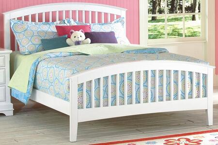 New Classic Home Furnishings 1415-STB Bayfront Slat Bed with Transitional Design, Headboard, Footboard, Slats and Rails, in White