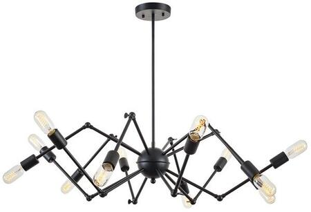 "EdgeMod Arachnid Collection 20""-44"" Adjustable Chandelier with 12 Bulb Capacity, LED Light Compatible and Iron Construction in"