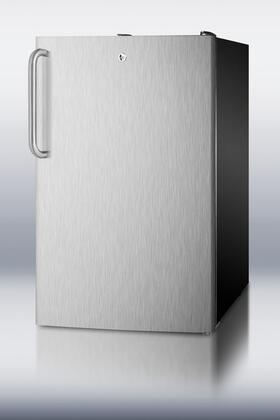 "Summit CM421BLBISSTB 20"" CM421BLBI Series Stainless Steel Compact Refrigerator with 4.1 cu. ft. Capacity"
