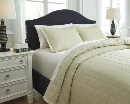Signature Design by Ashley Amare 3 PC King Size Coverlet Set includes 1 Coverlet and 2 Standard Shams with Ruffled Edge Design and Cotton Material in Color