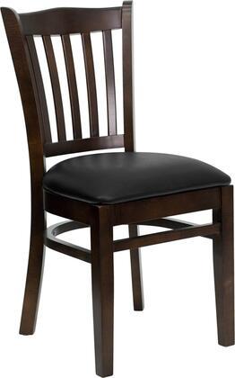 "Flash Furniture HERCULES Series XU-DGW0008VRT-WAL-XXV-GG 19.25"" Heavy Duty Walnut Finished Vertical Slat Back Wooden Restaurant Chair with Vinyl Seat, Commercial Design, Plastic Floor Glides"