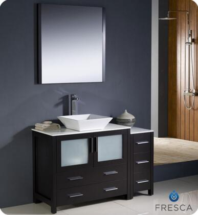"Fresca Torino Collection FVN62-3612XX-VSL 48"" Modern Bathroom Vanity with Side Cabinet, Vessel Sink and 5 Soft Closing Drawers in"