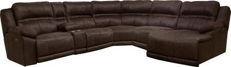 Catnapper Braxton Collection 62156-9-5-8-4-3- 6-Piece Sectional with Left Arm Facing Power Recliner, Console, Armless Recliner, Wedge, Armless Chair and Right Arm Facing Chaise in