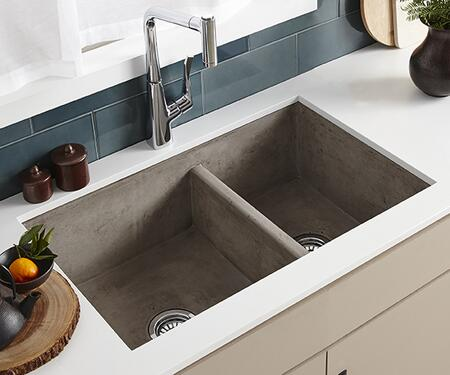 "Native Trails NativeStone Kitchen Sinks Collection 33"" Double Bowl Kitchen Sink with 3.5"" Drain, Lightweight Concrete Material, Scratch and Stain Resistant in Color"