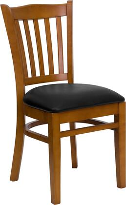 """Flash Furniture HERCULES Series XU-DGW0008VRT-CHY-XXV-GG 19.25"""" Heavy Duty Cherry Finished Vertical Slat Back Wooden Restaurant Chair Vinyl Seat, Commercial Design, and Plastic Floor Glides"""