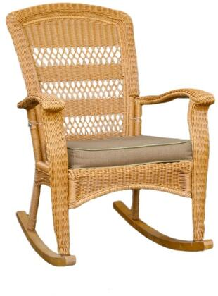 Tortuga PSR-P Portside Plantation Rocker Chair With All Weather Wicker, Durable Powder Coated Steel Frames & In