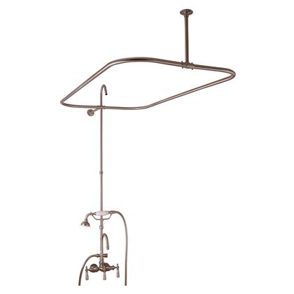 Barclay 414348 Converto Rectangular Shower Unit with Riser and Shower Ring Gooseneck Spout, Porcelain Lever Handles with Handheld Shower in