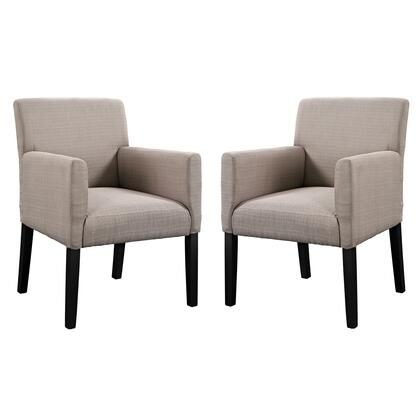 """Modway EEI-1299 Chloe Armchair Set of 2 with Wooden Legs, 6"""" Cushion Thickness, Versatile Design and Upholstered Polyester Fabric"""