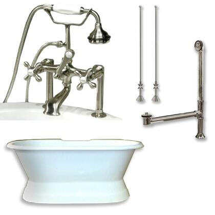 "Cambridge DESPED463D6PKGXX7DH Cast Iron Double Ended Slipper Tub 71"" x 30"" with 7"" Deck Mount Faucet Drillings and British Telephone Style Faucet Complete Plumbing Package with Six Deck Mount Risers"